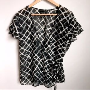 Lane Bryant black wrap-front flutter sleeve blouse